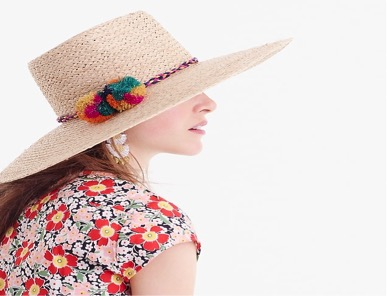 Source:  Sun Straw Hat with Pom-poms