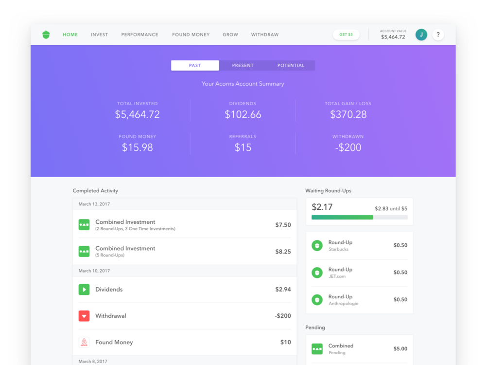 Past - Past was designed to act as a centralized location to display all of the users history and transactions within their account.The biggest challenge to solve for this screen was how to present the most important information at a glance, without all of the data being one long ledger.