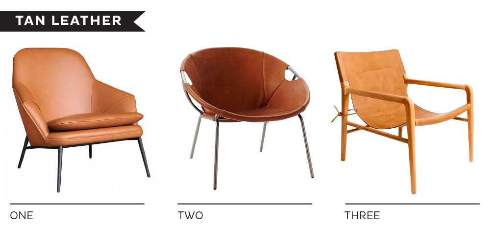 1 HUG LEATHER LOUNGE CHAIR / 2 DRIES LEATHER SLING CHAIR / 3 SMITH TAN  LEATHER AMRCHAIR