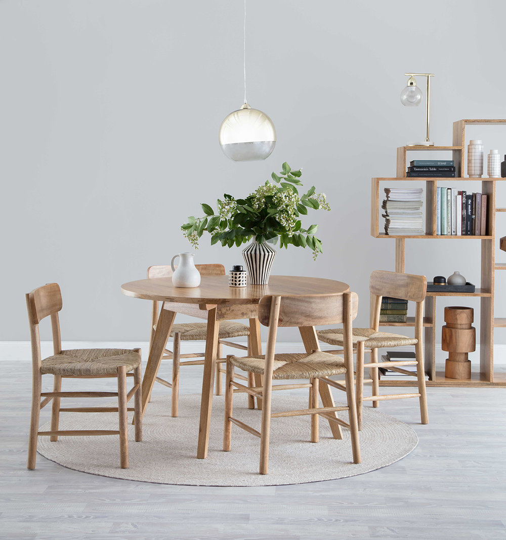 Porto Round Dining Table And Bookcase, Tanduk Dining Chairs