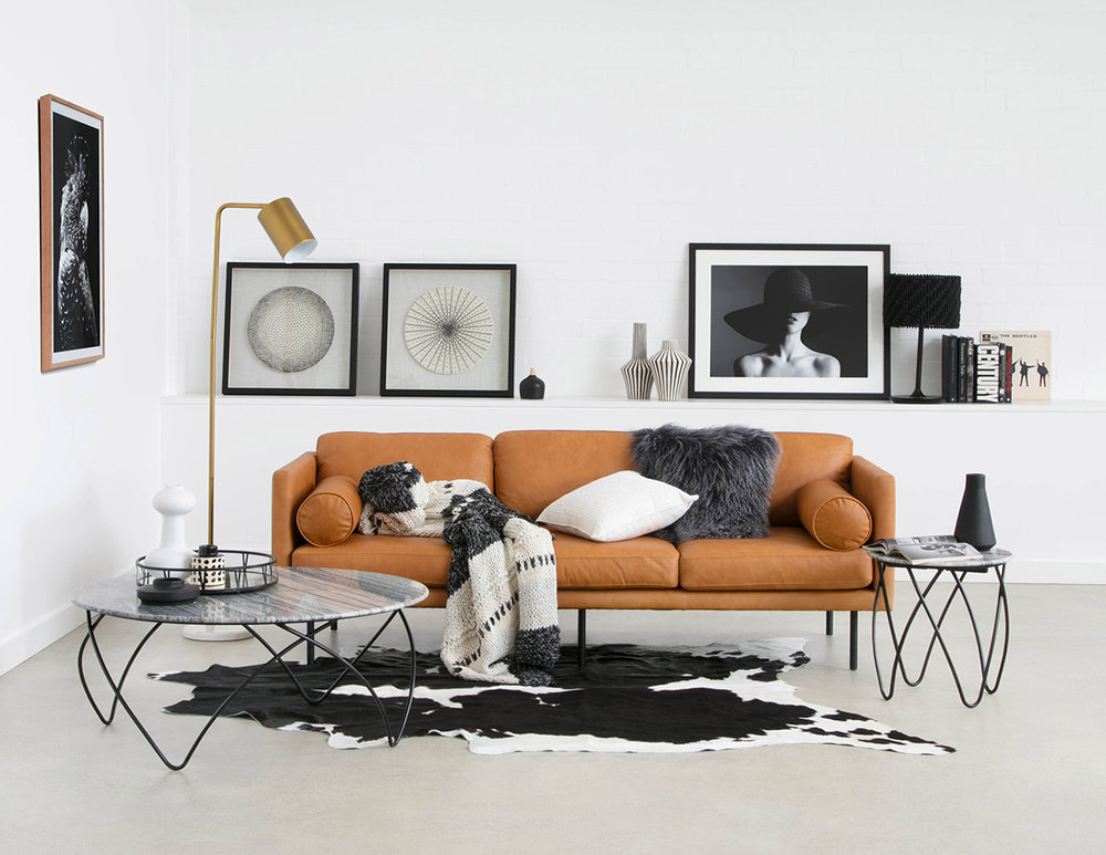 Spectre three-seater sofa in leather, Hermon coffee and side tables