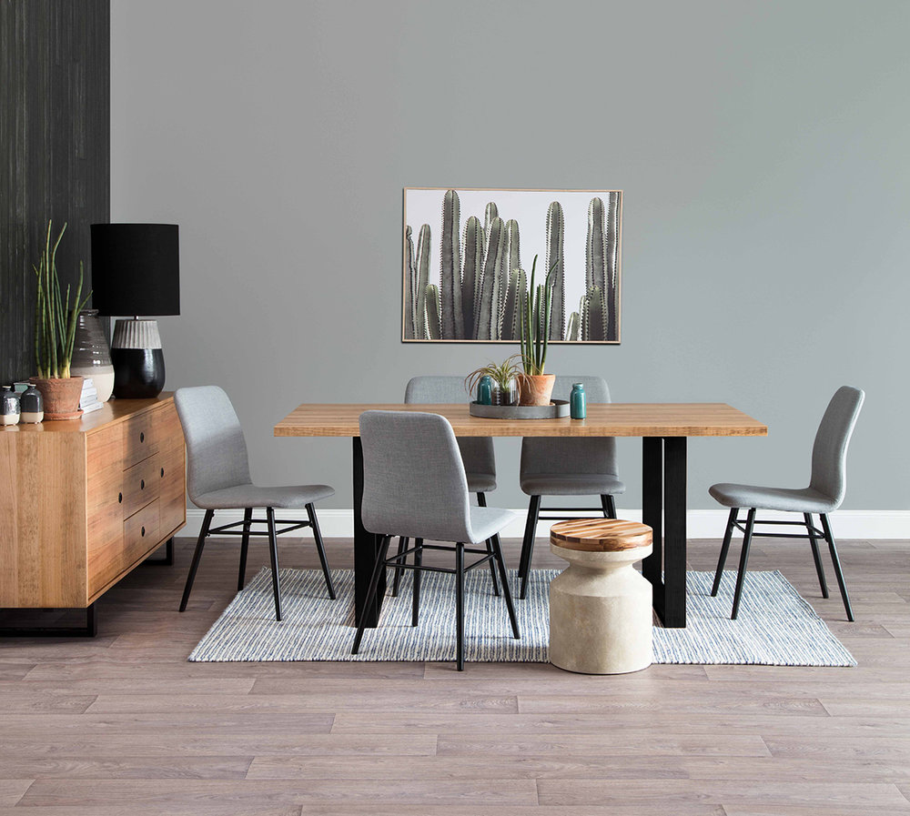 Finlay dining table and buffet, Amanda dining chairs