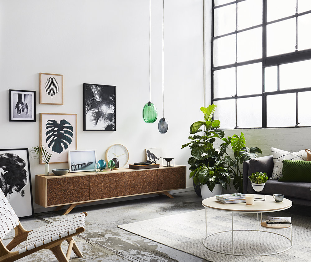 Kork entertainment unit and Lilly coffee table