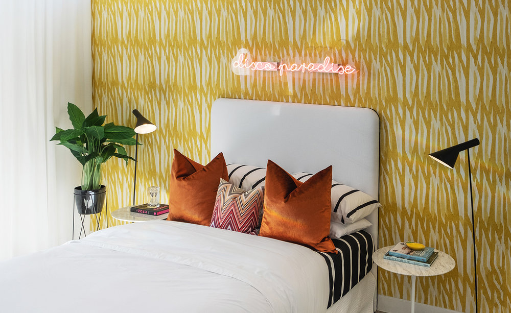 aston_milan_display_home_helensvale_surrounds_bedroom_yellow_wallpaper_palm_springs_style.jpg
