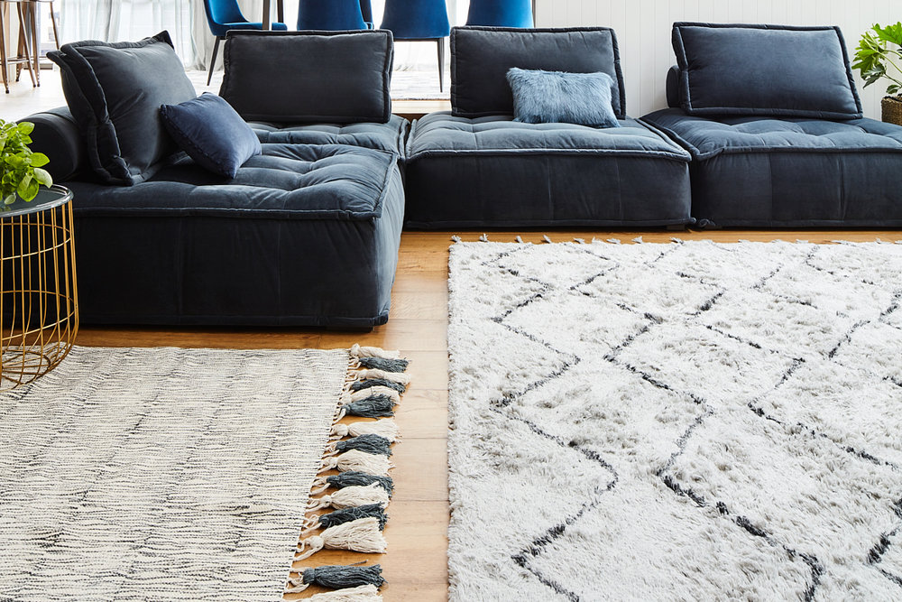 Chirala Bark hand-blocked rug pictured left (150 x 240cm) $299 / Marakesh Trellis hand-tufted rug pictured right (240 x 300cm) $699