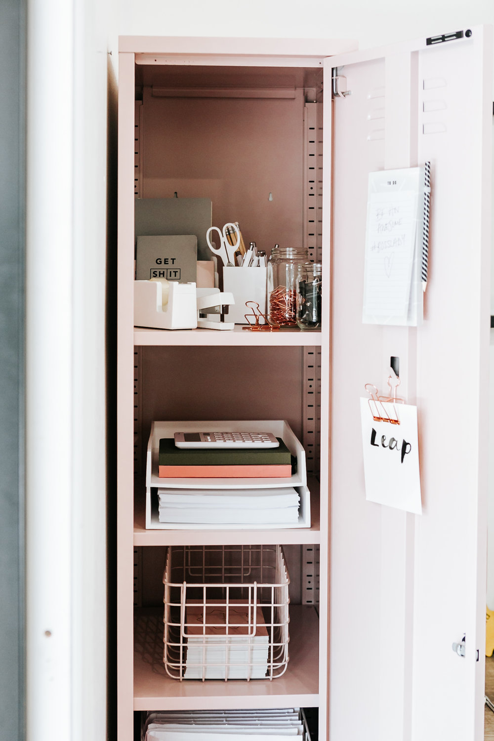 A look inside   Mustard's Skinny locker in blush