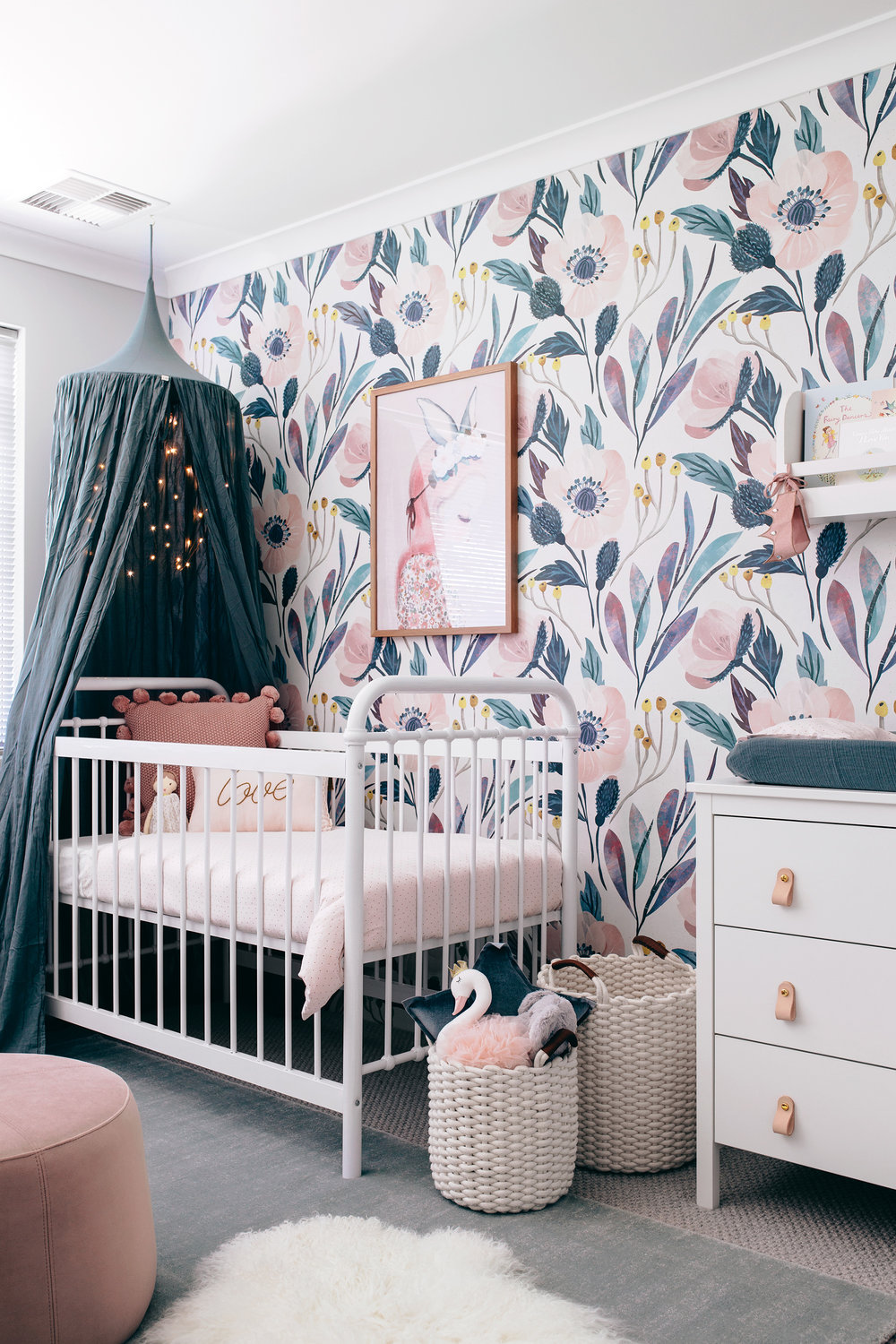 Moody Floral Wallpaper  /   Photography + Interior design  Tarina Wood, Oh Eight Oh Nine