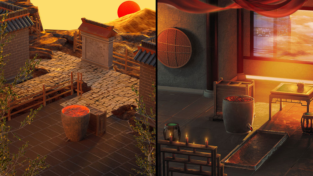 The scenes for smelting copper (left) and tin (right).