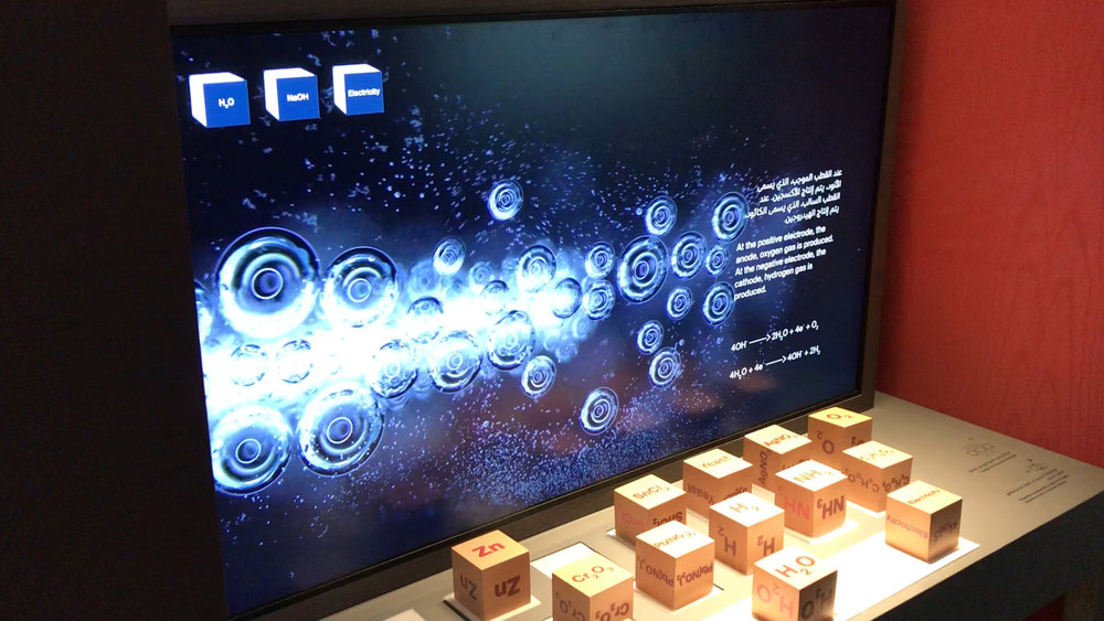 Interactive exhibit showing electrolysis