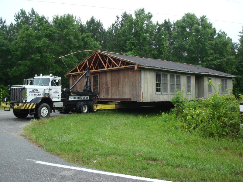 Here is the home in transit to its new location.