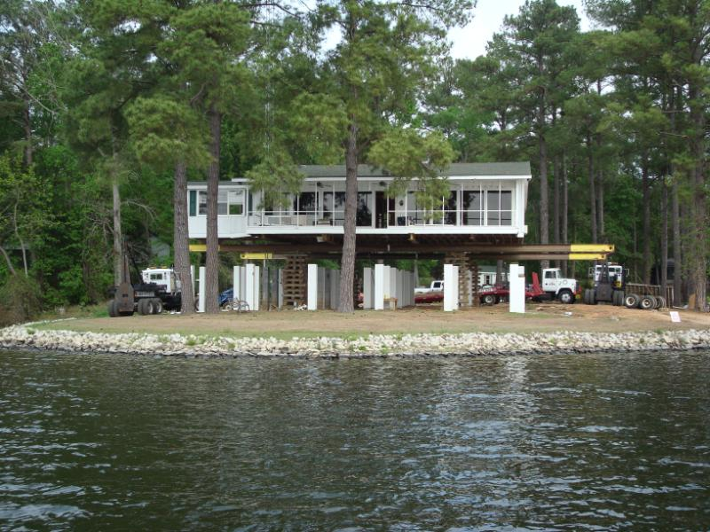 This home on Lake Wateree was also raised. Raising a home can prevent flood damage.