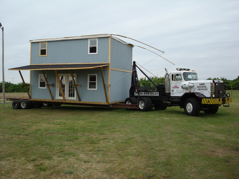 This house left its original location and arrived at the new lot safe and sound.