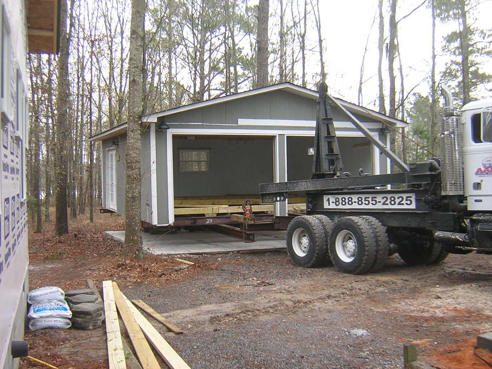 The garage has been fitted and lifted-- ready to roll!