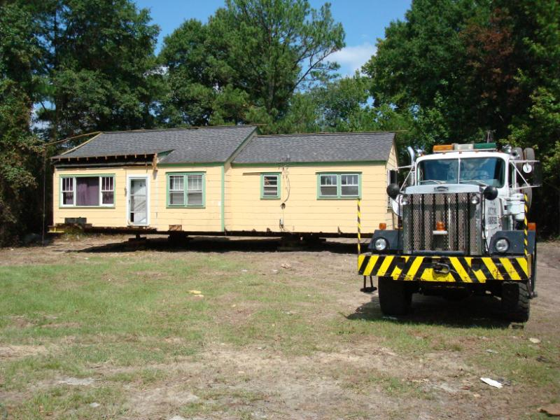 The house was then moved to a new location where it would receive its foundation.