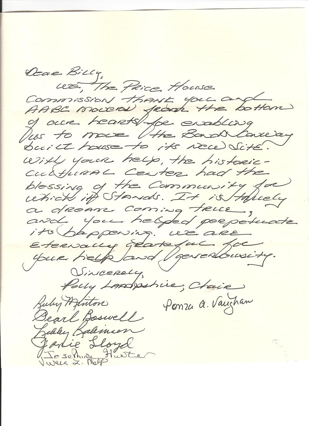 A Thank You Letter from the Price House Commission