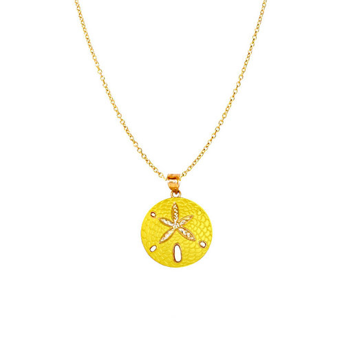 NEW 14k Sand Dollar Pendant Solid Yellow Gold Sea Life Jewelry Made in USA