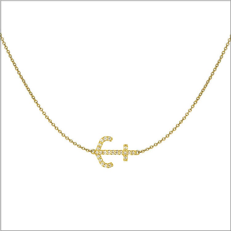 14K Yellow gold Anchor Pendant with diamond accents, and 2mm chain necklace starts at only $750.  BUY NOW