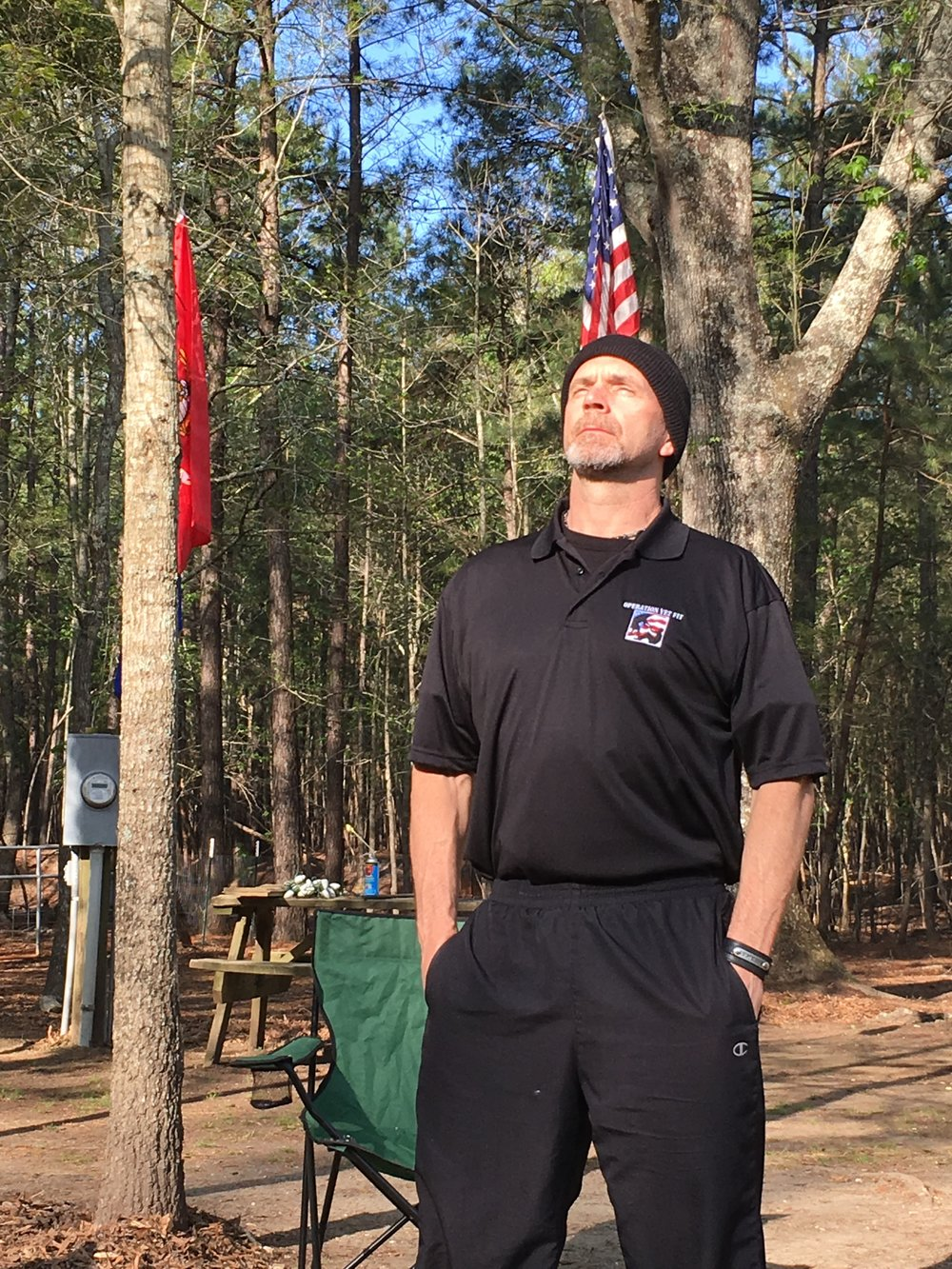 Joe Schirmer, US Army veteran enjoys some sunshine during our April 2018 Camaraderie event at the ranch
