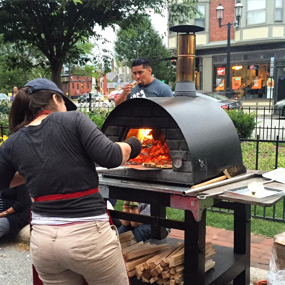 Fire Master Andrea Machado working the Fire at Cardinal O'Connell Parkway as a part of Made In Lowell's special event.