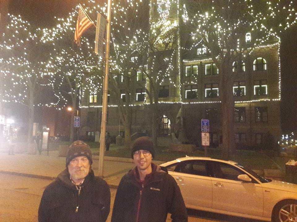 Rick and Allan, Masters of the customer experience, taking a break from pizza making at Made In Lowell's City of Lights event to enjoy the show.