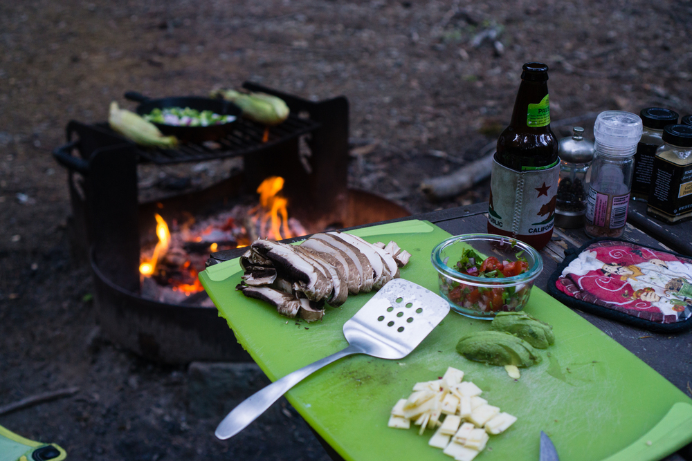 Portabello tacos and corn on the campfire