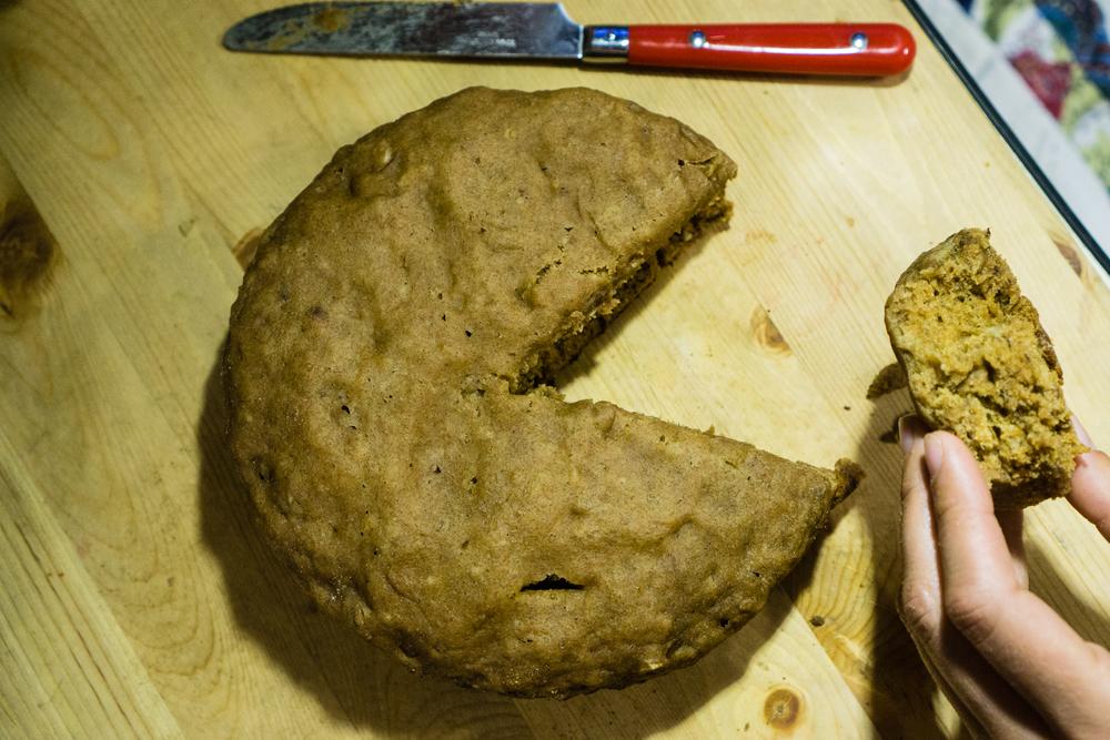 Dutch oven banana nut bread