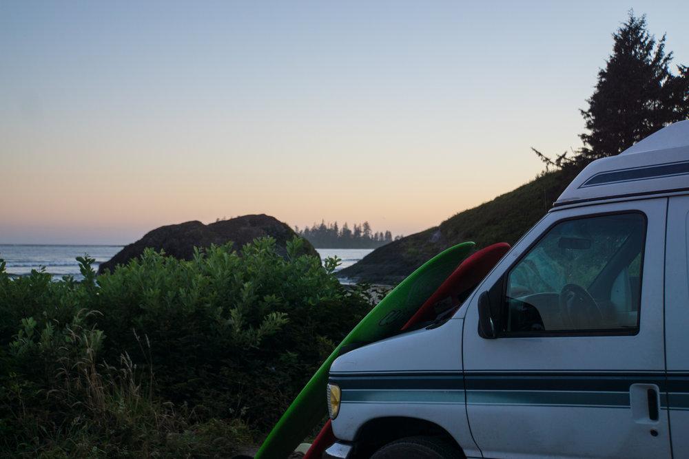 Grandma van disguised as a surf wagon