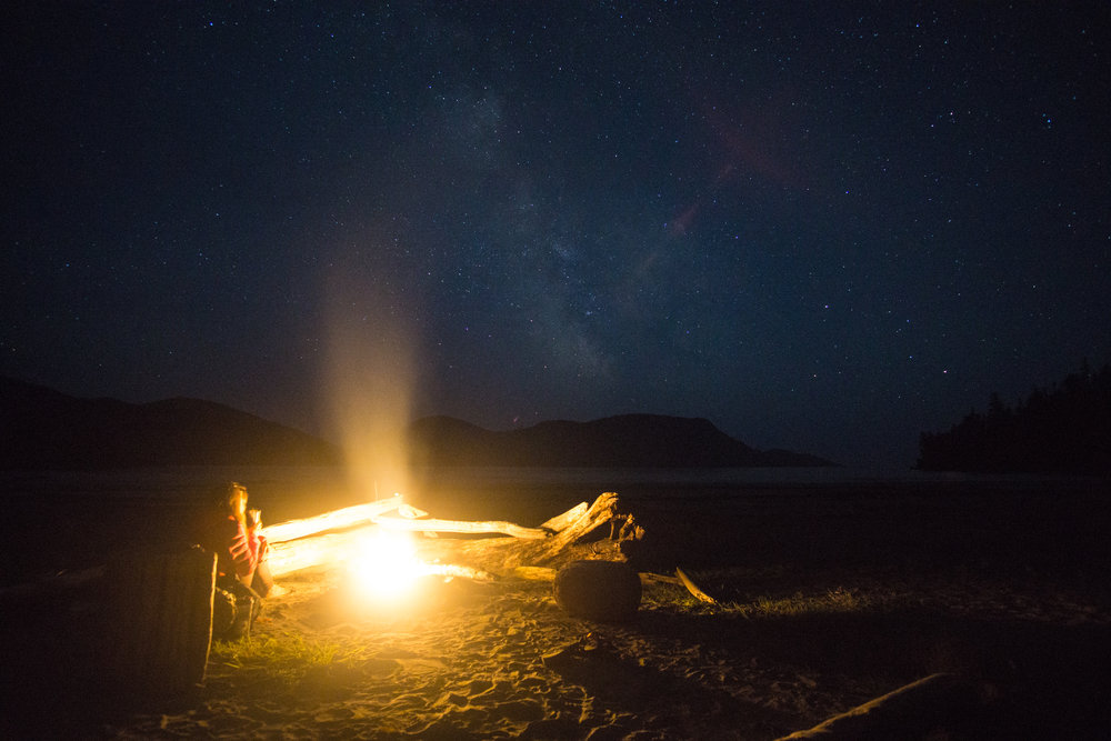 Milky way by firelight