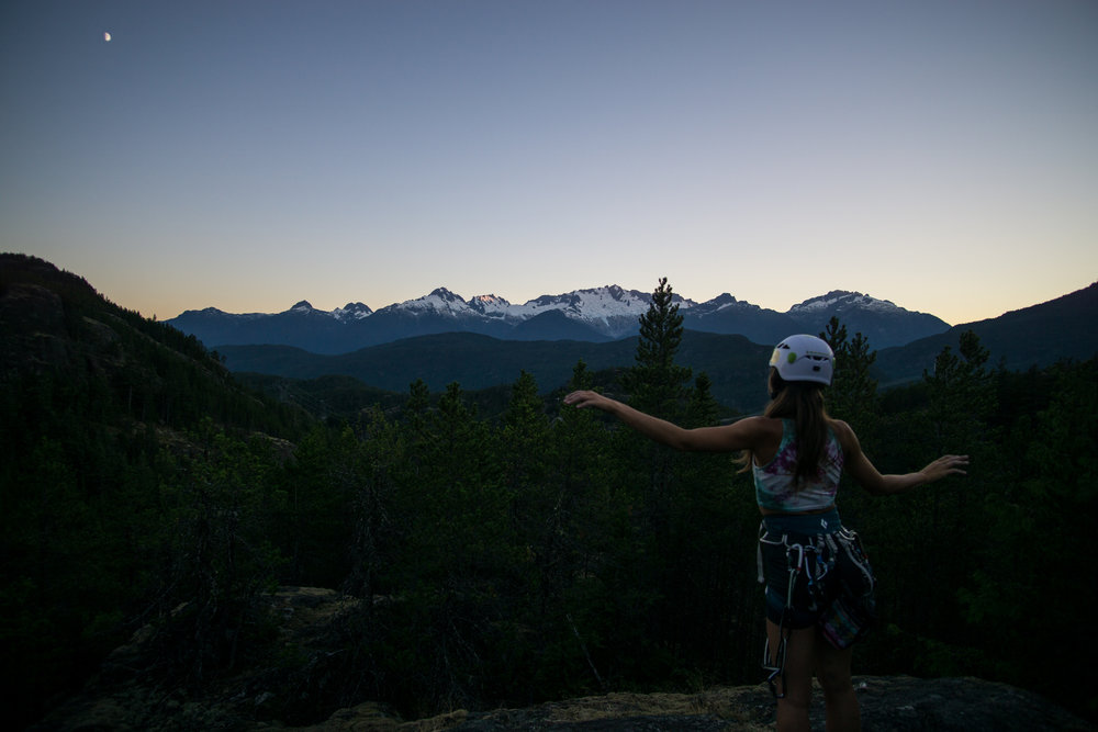 First multi-pitch in Squamish...summit dance parties with killer view of the Tantalus Range