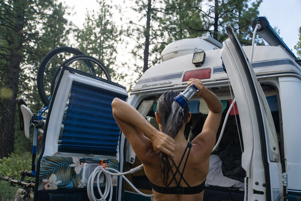 The solar shower in action! We used it all summer as we traveled along the west coast and up into Canada.