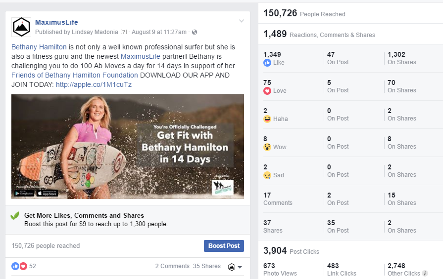 Organic Facebook Post - Reached over 150,000 people without spending any money on boosting