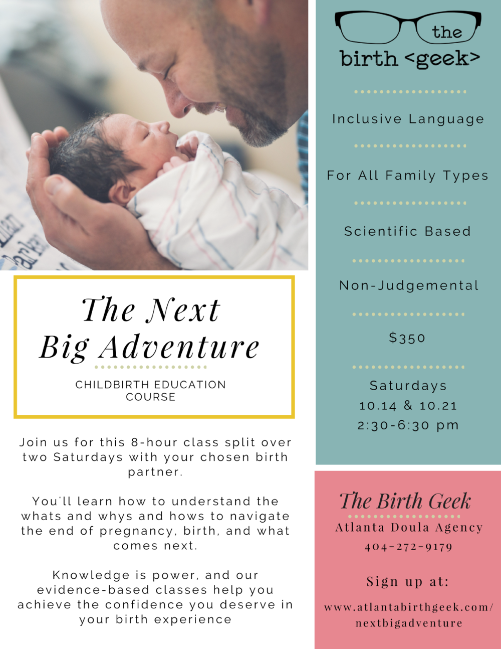 An Atlanta childbirth education course in east Atlanta. October 2017 for 8 hours with The Birth Geek, an Atlanta Doula Agency.