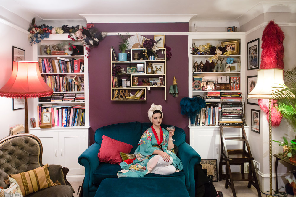 Burlesque dancer Eliza DeLite at home before her show.  London, UK