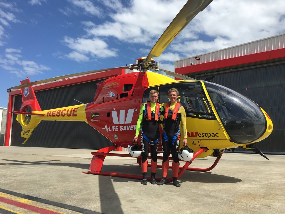 LIFESAVER  Sam's volunteers with the Westpac Lifesaver Rescue Helicopter Service and is a member of Inverloch S.L.S.C