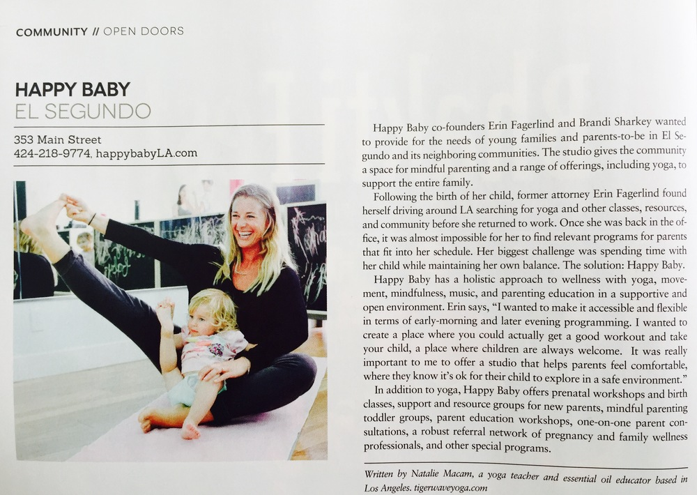 Article about happy baby from the July 2016 edition of LA Yoga magazine . . .