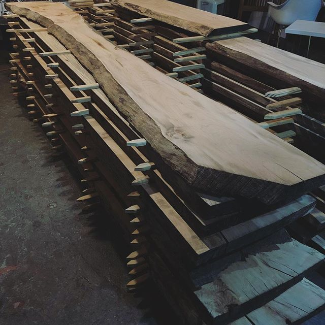 These local honey locust, ash, and elm slabs are finally dry! Time to start making some dope furniture for our friends at @talacoffeeroasters !
