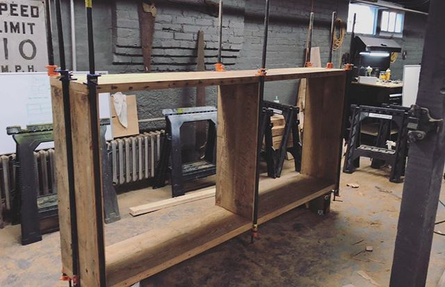 Nice little barn wood glue-up today. Part 1 of a larger shelving unit. Stay tuned for the finished project!