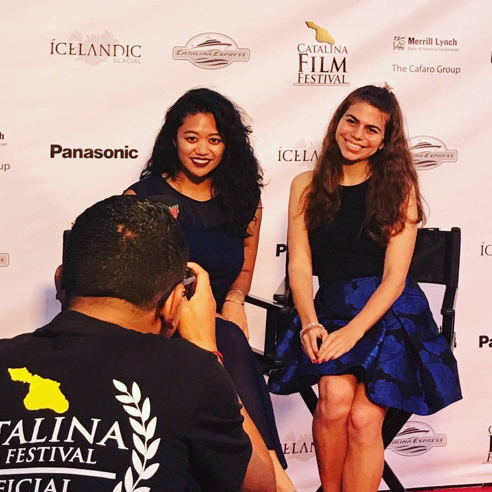 Producer Mallorie Ortega (L) and Writer/Director/Actor Megan Seely (R) being interviewed on the red carpet.