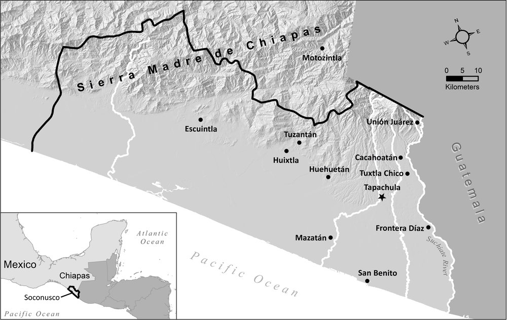 Map 1 - The Soconusco District of Chiapas, Mexico.    Map prepared by the Harvard University Center for Geographic Analysis  [click for larger image]
