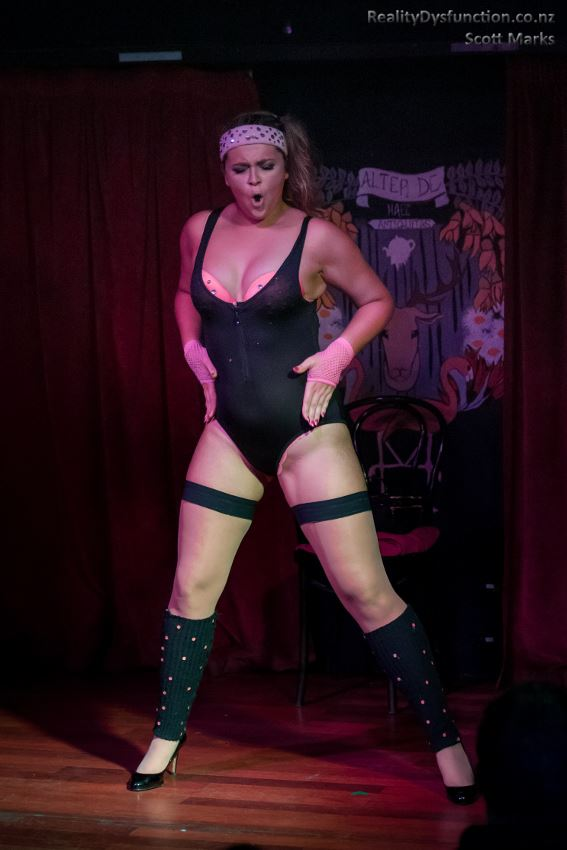 Me performing my burlesque routine as a slutty 80s style aerobics instructor....  Photo credit: The amazing, Reality Dysfunction, Scott Marks