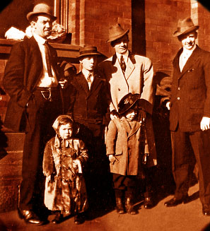 From Left: Joe, Louise (mighty upset about something!), Buster, Jingles and two unknown  vaudevillians outside a theater, c. 1912.