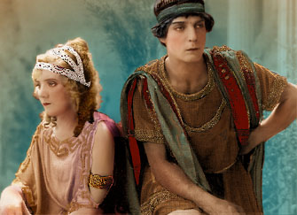 "Keaton and Margaret Leahy in  ""Three Ages"", 1923, Keaton's epic  spoof of D.W. Griffith's ""Intolerance"""