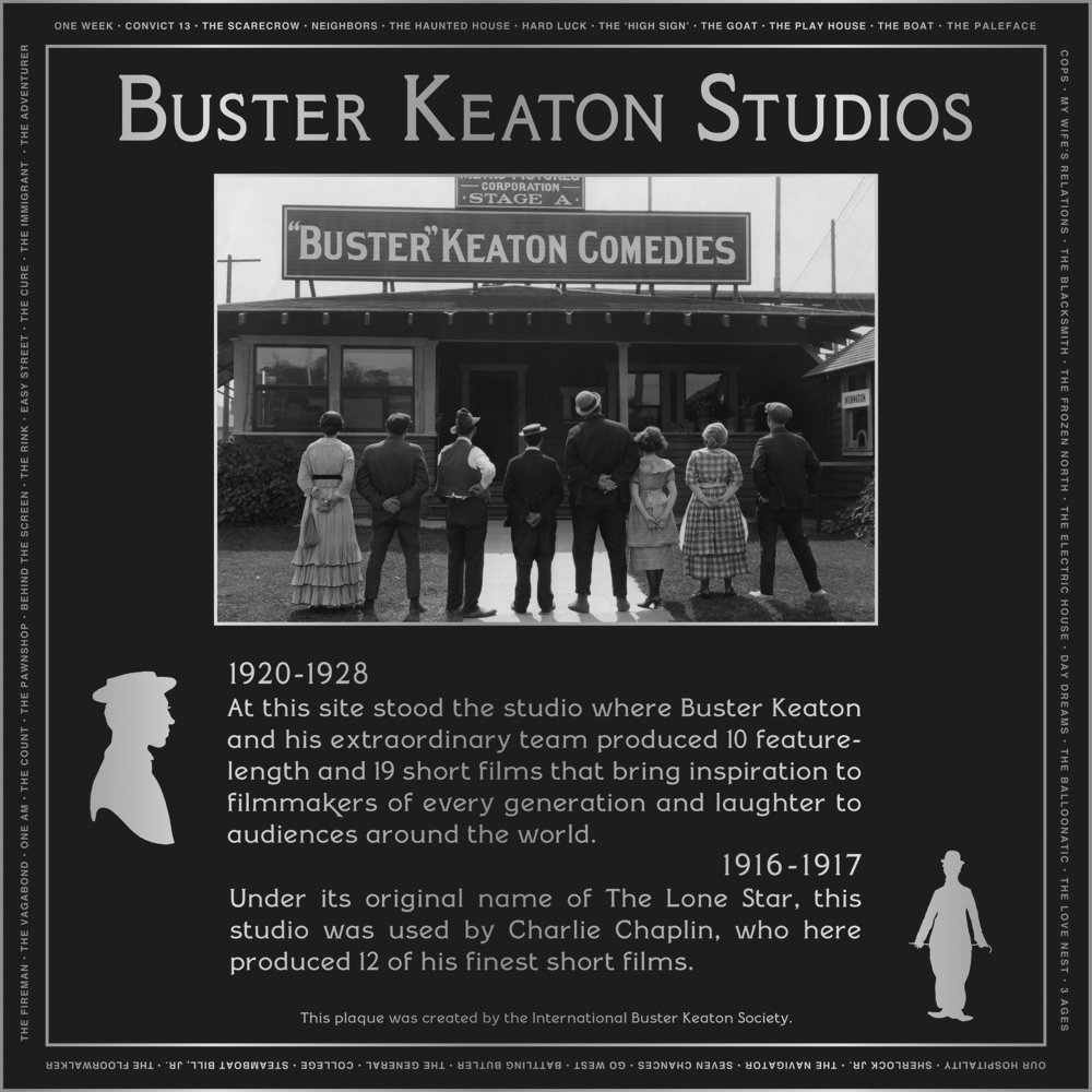 KEATON-CHAPLIN PLAQUE-b&w CREDIT The International Buster Keaton Society