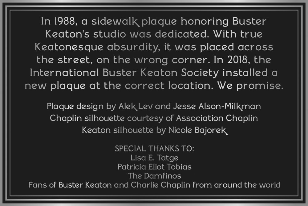 SMALL PLAQUE-b&w CREDIT The International Buster Keaton Society