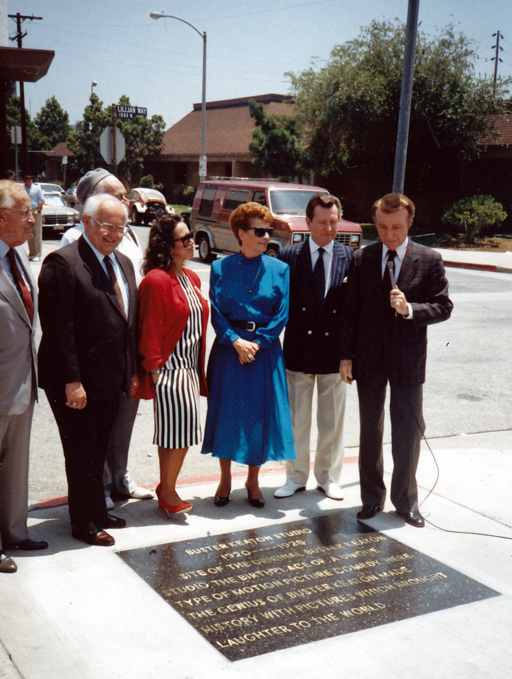 ORIGINAL DEDICATION 7-6-1988 Bill Welsh, Johnny Grant, Eleanor Keaton (Keaton's widow in blue), Donald O'Connor, Ralph Edwards PHOTO CREDIT-Leonard Maltin