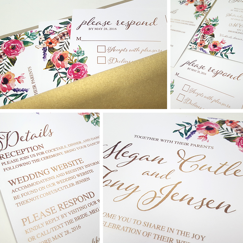 Golden Floral invitation set