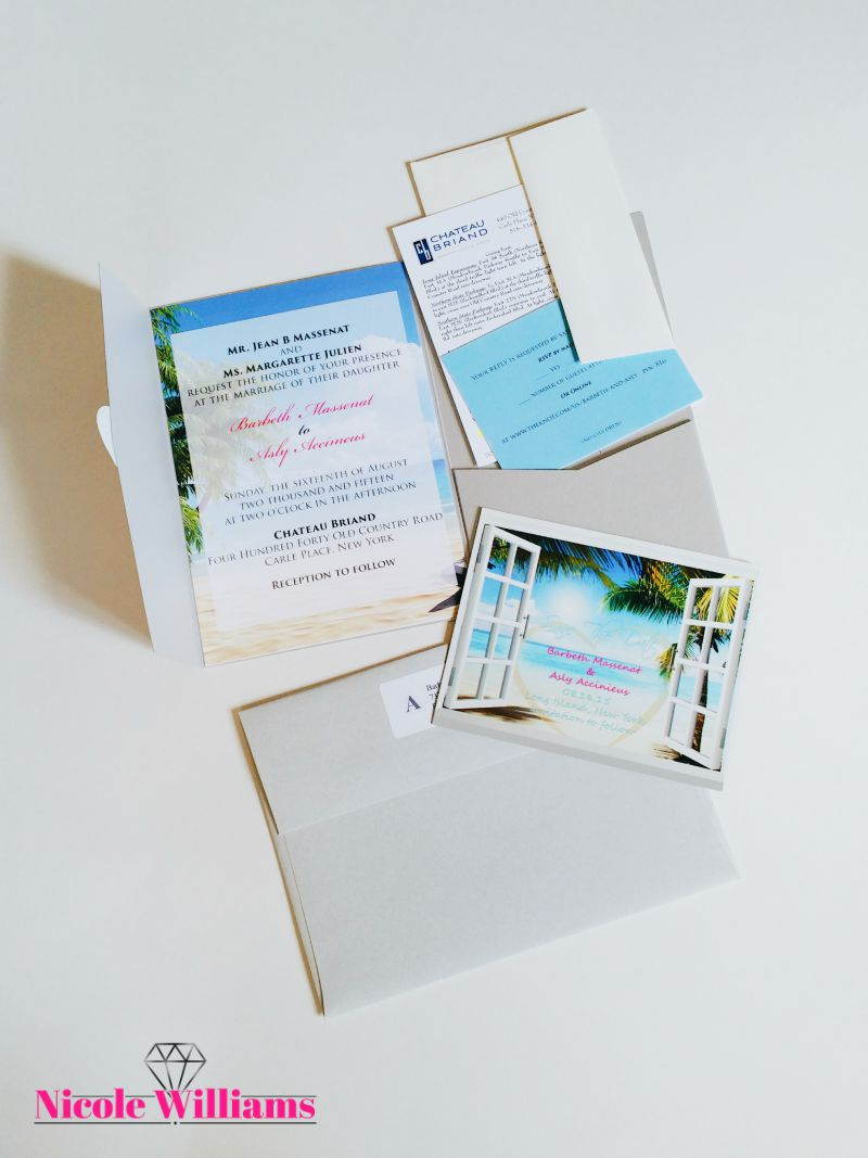 South Beach Themed Wedding Stationary Suite — Nicole Williams ...