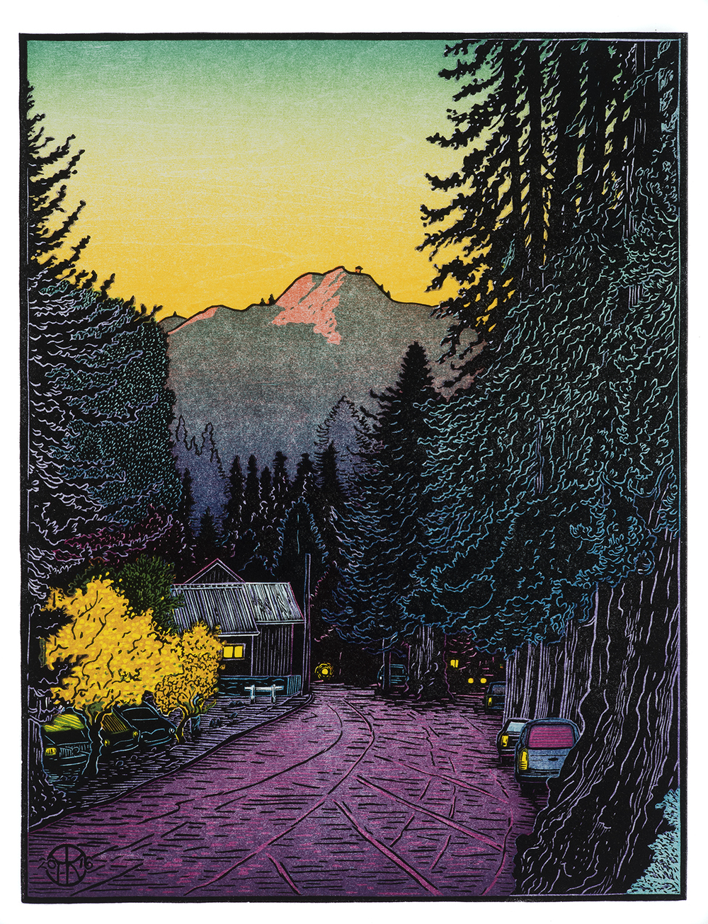 """""""Mill Valley Lumber"""": 8 color-layer multi-block reduction cut completed spring 2016. The scene is on Miller Ave. in Mill Valley, looking towards the old Lumber Company buildings with Mt. Tamalpais catching the evening light in late November. This image was used for the Mill Valley Fall Art Festival's 60th Anniversary poster in 2016."""