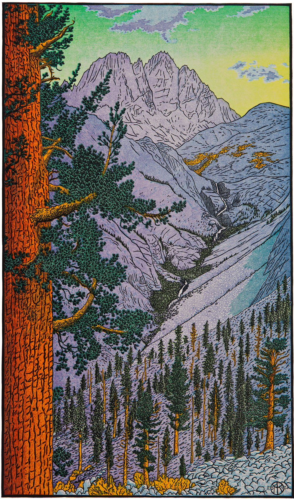 """Middle Palisade Peak & Western White Pine"": 12 color-layer multi-block reduction cut completed October 2017. The view of Middle Palisade Peak (14,012') is from above the mouth of Cataract Creek, looking at the descending waterfalls of Palisade Creek along which the John Muir Trail's Golden Staircase climbs several thousand feet to the Palisade Lakes. This print was produced from a ketch made on site in 2012. Scenes from some steps in the carving and printing process at right:"