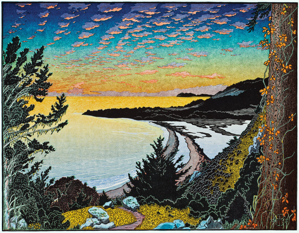 """""""Above Stinson Beach"""" 13 color-layer multi-block reduction cut print completed May 2018. The scene is from the shoulder of Mt. Tamalpais overlooking Stinson Beach and Bolinas. The sunset-lit cloud train was sketched in 2016 and the old fir tree wrapped in poison oak vines was added in 2017. The print utilized 7 shina blocks and several overlays of color."""
